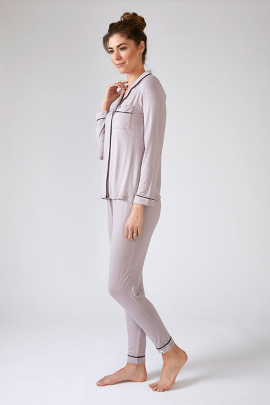 Nightwear Womens Bamboo Trouser Set Oyster from Pretty You London