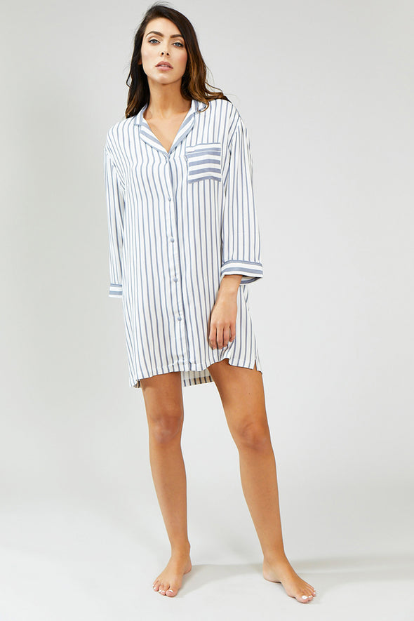Nightwear Womens Stripe Nightshirt - Grey/Ecru from Pretty You London