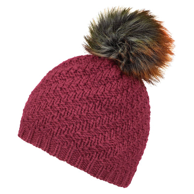 Accessories Classic Burgundy Faux Fur Pom Beanie Hat from Pretty You London