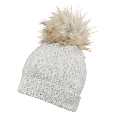 Accessories Premium Grey Faux Fur Pom Beanie Hat from Pretty You London