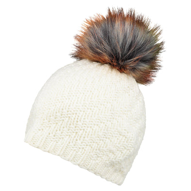 Accessories Classic Cream Faux Fur Pom Beanie Hat from Pretty You London