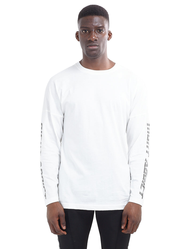 LONG SLEEVE RACER T-SHIRT - WHITE