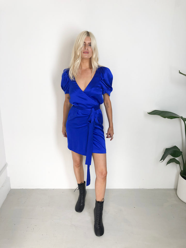 Sample Sale - 100% Silk Satin Blue Dress