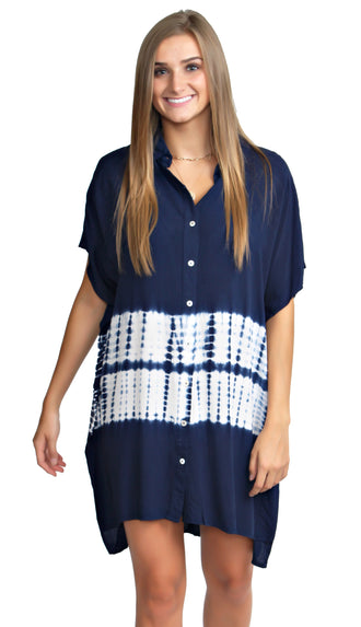 Don't Worry About A Thing Shirt Dress- Blue