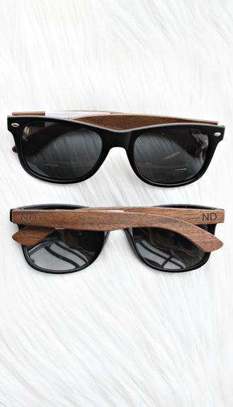 North Dakota Wood Grain Sunglasses- Black