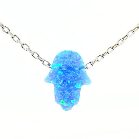 Opal Mini Hamsa Pendant Necklace - -