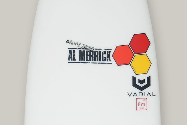 Surfboard picture of a Channel Islands Sampler surfboard with Varial Infused Glass, Al Merrick stamp and the Channel Islands Surfboards Hex