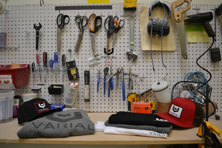 In the shop surfboard tools to build the best surfing equipment. Surf style clothing, hats, shirts and sweaters