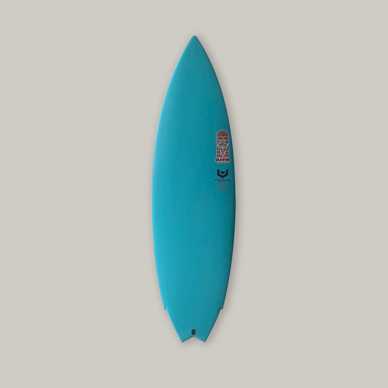 Akila Aipa twin 5'8 surfboard featuring varial infused glass and varial foam. 5'8 akila aipa surfboard, blue resin pigment, twin surfboard, futures fins, in stock surfboard, akila aipa surfboard, performance surfboard, twin fin surfboard