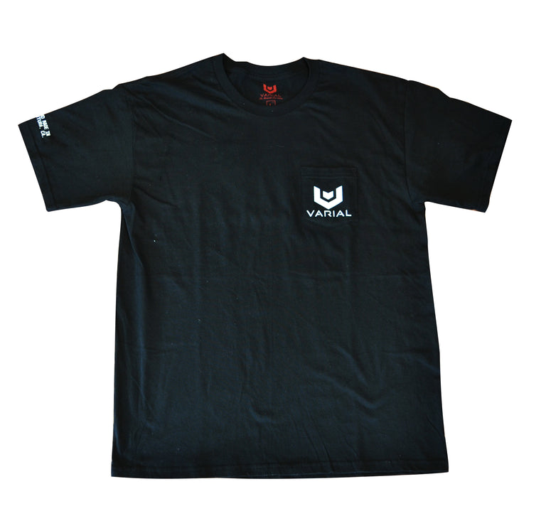 Varial surf tech clothing. Black pocket surf style clothing tee with Varial Surf Technology printed design.
