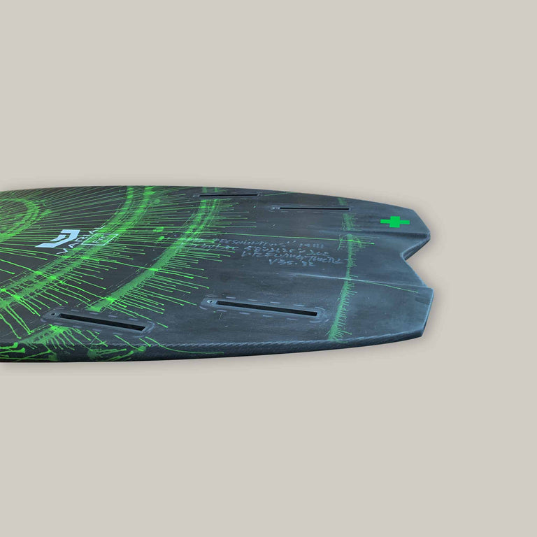 Side image of surf prescriptions deadly flying turtle surfboard tail. Built with the best surf technology for a long lasting, highly responsive foil board. Custom art. In stock surfboard for sale.