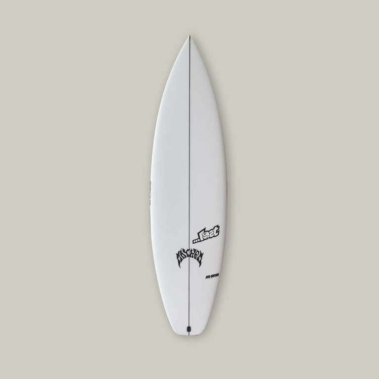 Lost subdriver surfboard with PU core and varial surf technology infused glass. Futures fins thruster black, standard glass, lost logos, lost mayhem logos