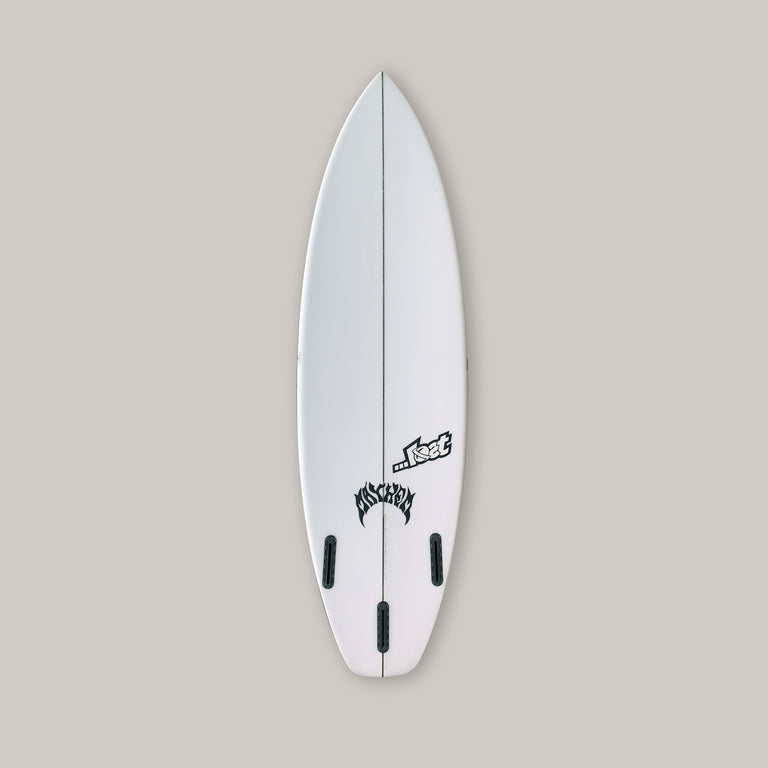 ...Lost Subdriver 5'10 polyurethane surfboard with Varial Infused glass, 3-fin futures, PU core, infused glass, polyester resin, standard layup