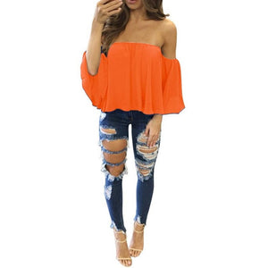 Off Shoulder Sleeveless Blouse