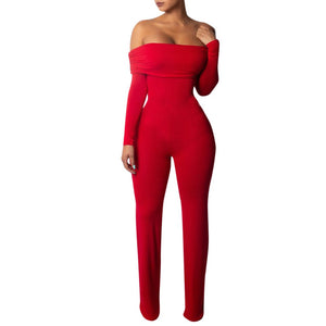 Off Shoulder Long Sleeve Jumpsuit