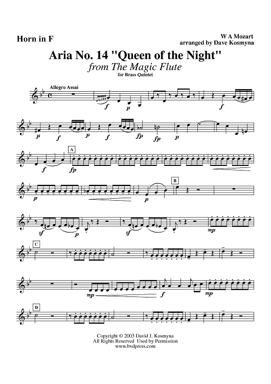 "Aria No. 14, ""Queen of the Night"" - Horn"