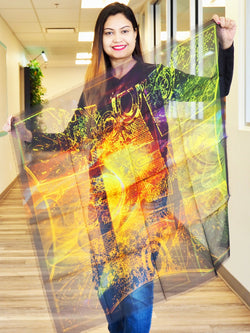 Abstract Orange Purple Green  Large Square Scarf