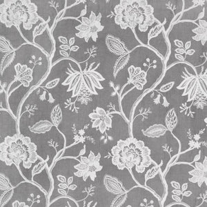 Hampton Court Gray Embroidered Jacobean Floral Linen Blend Fabric / Sterling
