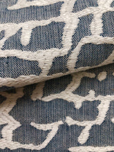 Load image into Gallery viewer, Light Denim Blue Off White Abstract Upholstery Drapery Fabric / Denim