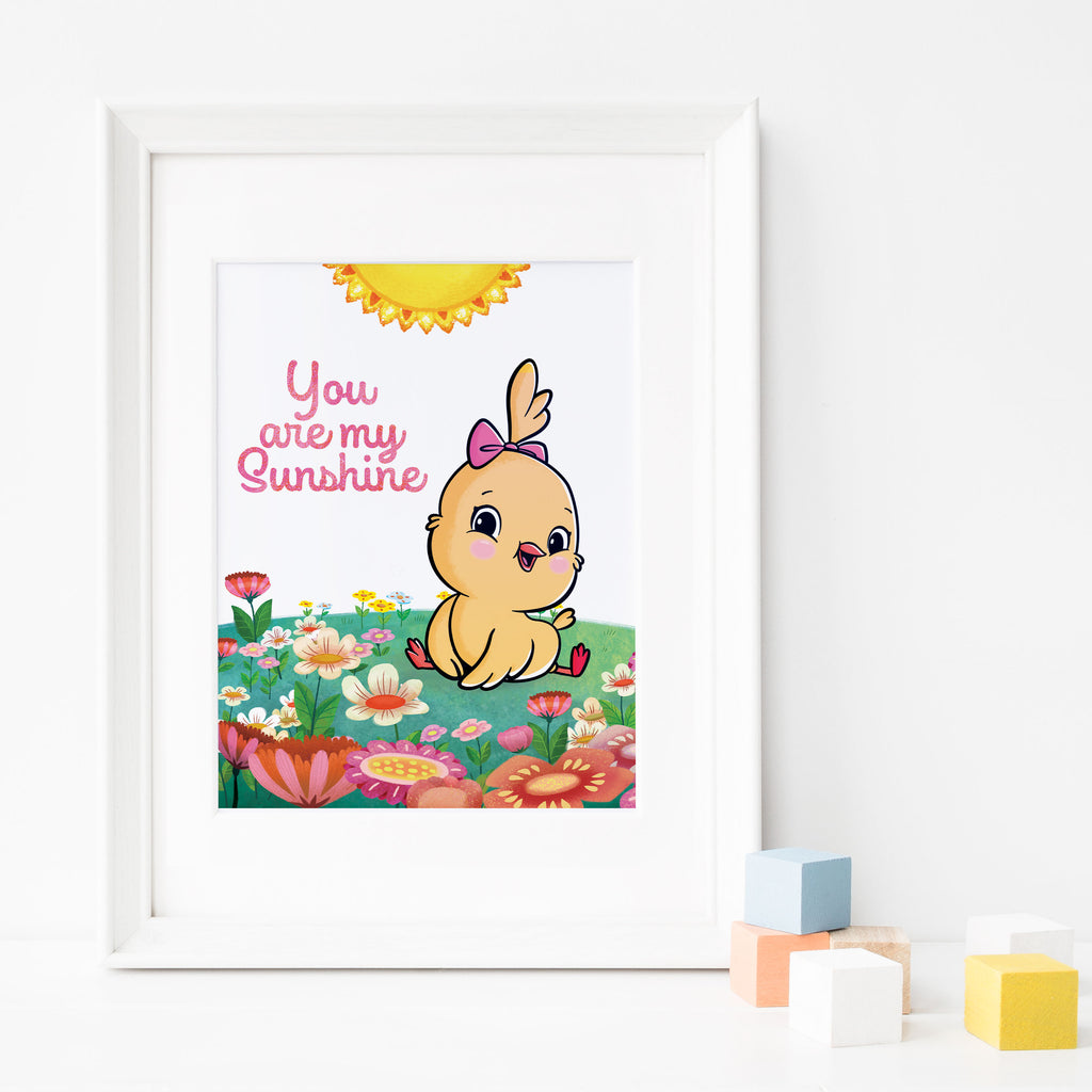 You are my Sunshine: Spring Flowers Nursery Poster