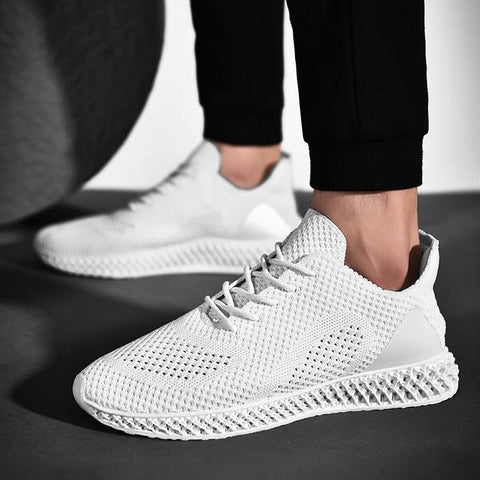 millennial with white lace up sneaker