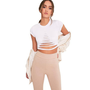 2017 Summer Bandage Crop Tops Women cropped feminino Round Neck Short Sleeve Holes Short Casual Crop Tops T-Shirt