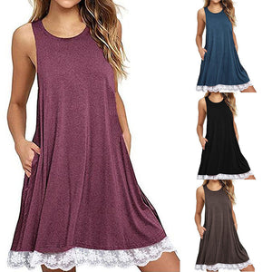 Women O Neck Casual Lace Sleeveless Above Knee Dress Loose Party Dress