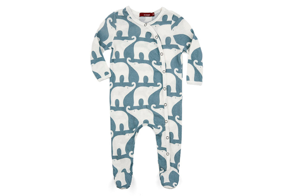 Milkbarn Footed Romper Organic Cotton Blue Elephant