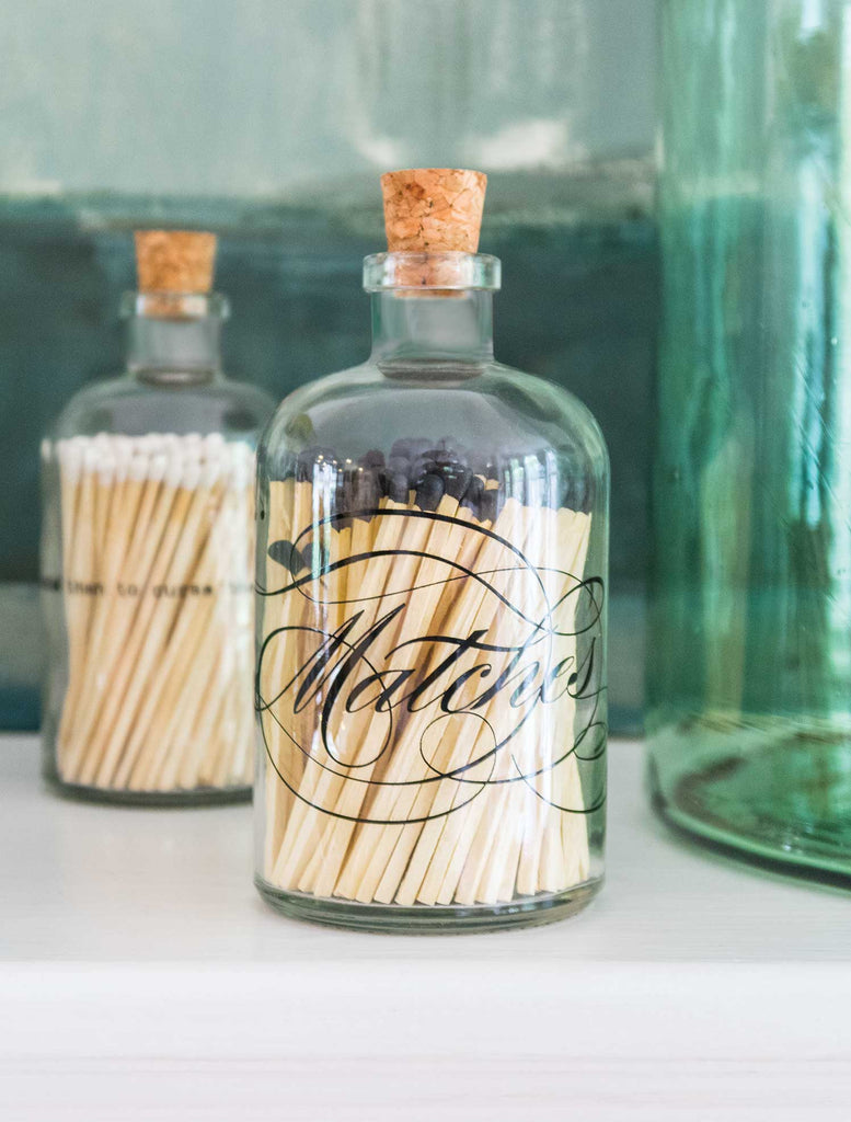 Skeem Designs Calligraphy Apothecary Match Bottles