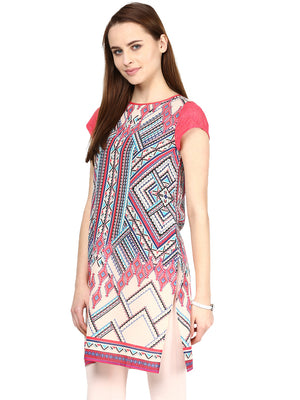 Multi Printed Coral Color Tunic