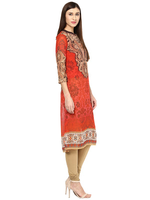 Printed Red Long Kurta