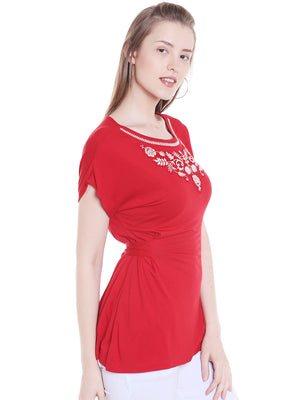 Red Top With Floral Embroidery