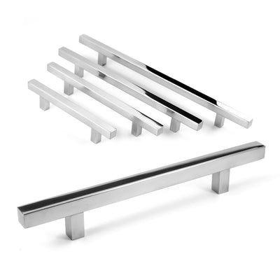 "Celeste Pi Square Bar Pull Cabinet Handle Polished Chrome Stainless 12mm, 19"" x 24"""