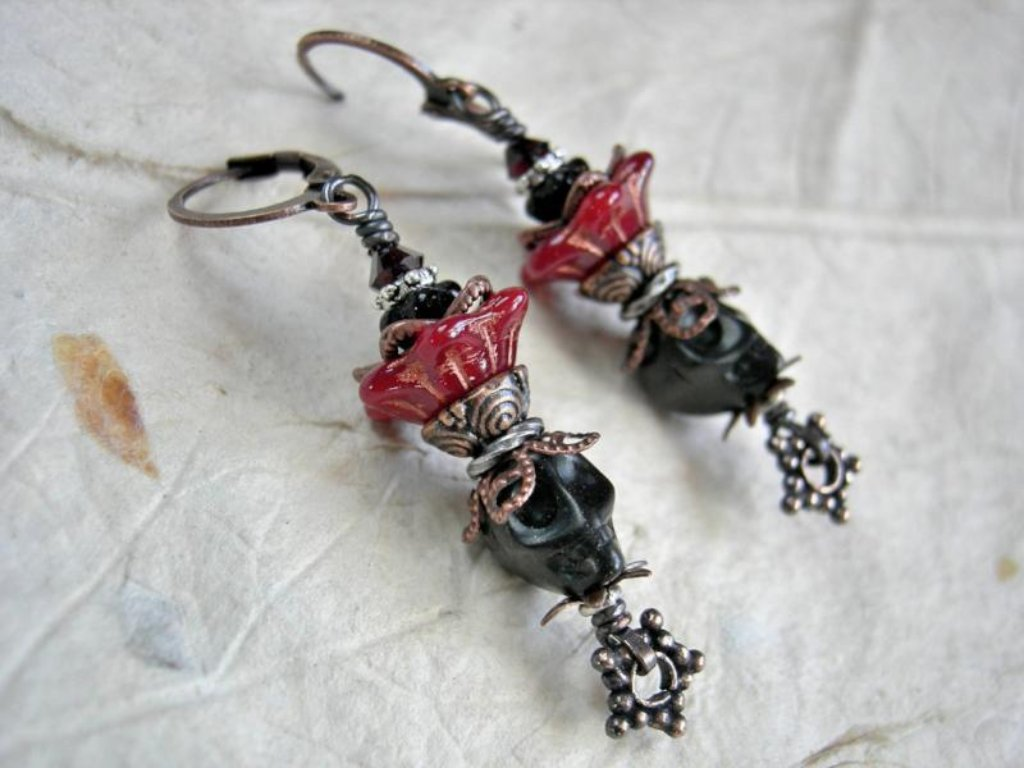 Black voodou queen earrings, magnesite sugar skulls, red glass flower & copper filigree crowns, Day of the Dead jewelry