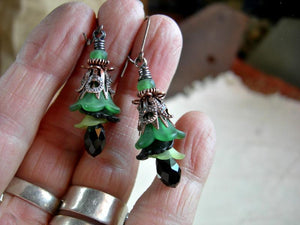 Elegant flower drop earrings with resin flowers & crystal teardrops in green, black & antiqued copper. Sophisticated faery couture.