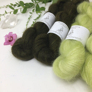 Lime Forest - thistledown - brushed mohair and silk laceweight