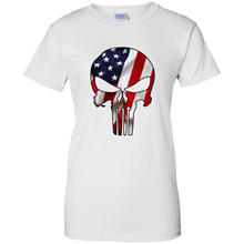 Load image into Gallery viewer, White American Flag Skull T-shirt