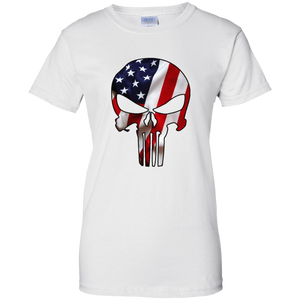 White American Flag Skull T-shirt