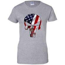 Load image into Gallery viewer, Grey American Flag Skull T-shirt