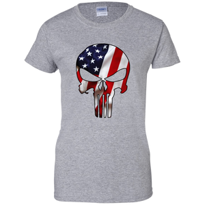 Grey American Flag Skull T-shirt