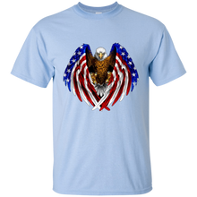Load image into Gallery viewer, Light Blue American Flag Eagle Wings T-shirt