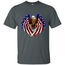 Load image into Gallery viewer, Charcoal Grey American Flag Eagle Wings T-shirt