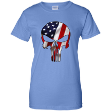 Load image into Gallery viewer, Blue American Flag Skull T-shirt