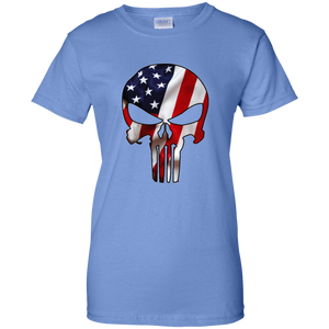 Blue American Flag Skull T-shirt