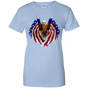 Light Blue American Flag Eagle Wings T-shirt