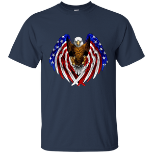 Navy Blue American Flag Eagle Wings T-shirt