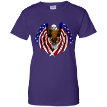 Load image into Gallery viewer, Purple American Flag Eagle Wings T-shirt