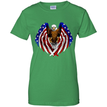 Load image into Gallery viewer, Green American Flag Eagle Wings T-shirt