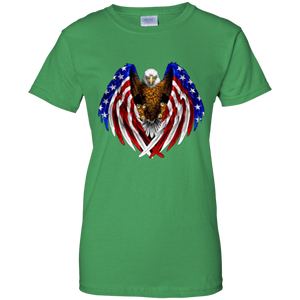 Green American Flag Eagle Wings T-shirt
