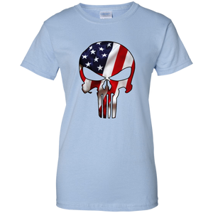 Light Blue American Flag Skull T-shirt